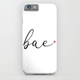 Bae Cool Cute Script Typography Love Heart iPhone Case