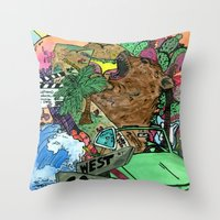 west coast Throw Pillows featuring west coast. by Late Bloomer
