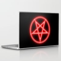 pentagram Laptop & iPad Skins featuring Bright Neon Red Pentagram by PodArtist