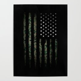 Khaki american flag Poster