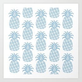Retro Mid Century Modern Pineapple Pattern Pale Blue Art Print