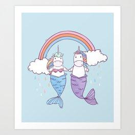 Unicorns-Mermaids in Love Art Print