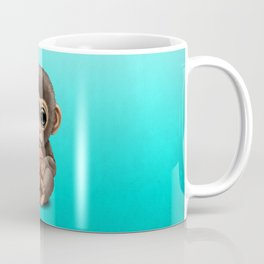 Cute Baby Monkey Playing With Basketball Coffee Mug