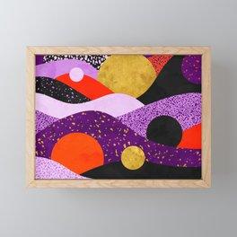 Terrazzo galaxy purple orange gold Framed Mini Art Print