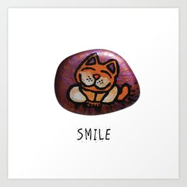 Smile Rock Orange Cat Painted Rock by annmariescreations Art Print