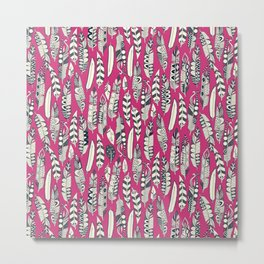 joyful feathers pink Metal Print