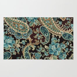 Brown Turquoise Paisley Rug