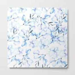 Hand painted pastel blue lavender watercolor floral Metal Print