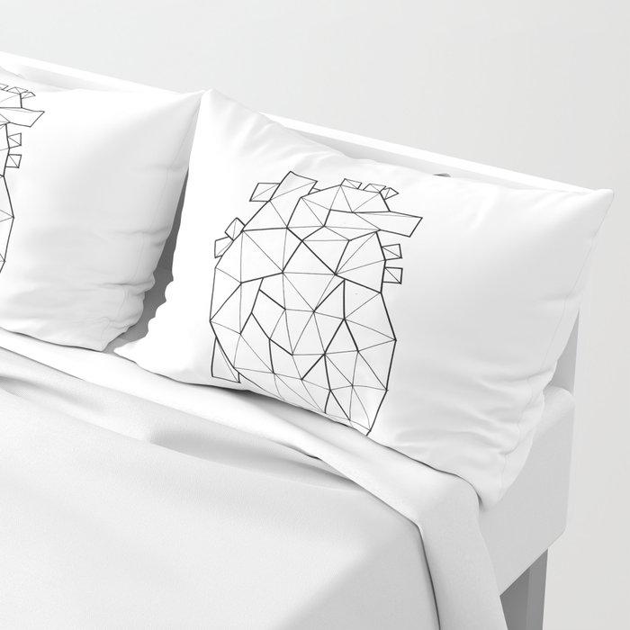 Minimal crystal heart anatomy Pillow Sham
