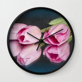 Tulips and Reflections on Blue Wall Clock