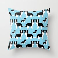 border collie Throw Pillows featuring Border Collie  by Heroinax