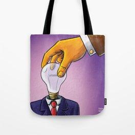 Light Bulb Head Businessman Tote Bag