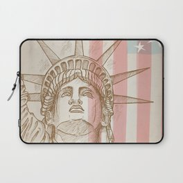 statue of liberty face with flag Laptop Sleeve