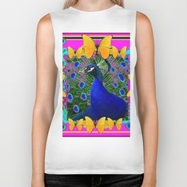 Cerise Wildlife Art Blue Peacock & Yellow Butterflies Art Biker Tank