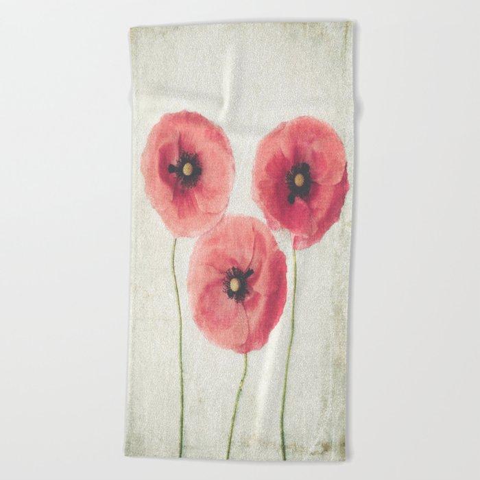 Vintage Poppies  Beach Towel
