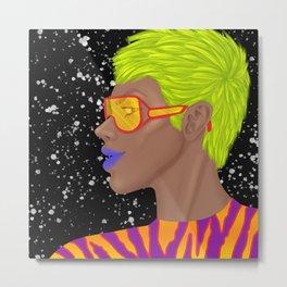 Neon Pop: Glitch Metal Print