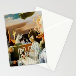 Classical Masterpiece 'A Social History of Indiana' by Thomas Hart Benton Stationery Cards