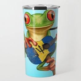 Tree Frog Playing Acoustic Guitar with Flag of Barbados Travel Mug