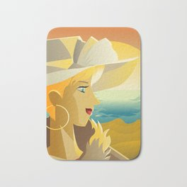 beautiful elegant tourist girl visiting the beach Bath Mat