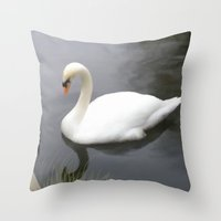 swan Throw Pillows featuring Swan by IvanaW