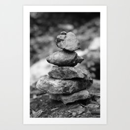 stones at the waterfall stream near the ruins in Flintsbach Art Print