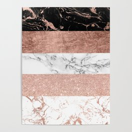 Modern chic color block rose gold marble stripes pattern Poster