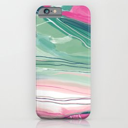 Sea cliffs abstract in pink and green iPhone Case