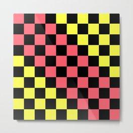 Black, Pink, & Yellow Checkerboard Pattern Metal Print