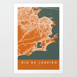 Rio de Janeiro Brazil Map | Coffee & Green | More Colors, Review My Collections Art Print