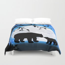 Moon and bears Duvet Cover