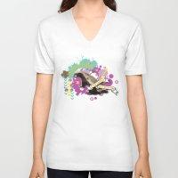 badger V-neck T-shirts featuring Badger by Natasha Jones