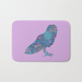 Barn Owl Floral Vintage Pattern Shabby Chic Purple Turquoise Lilac Lavender Pink Bath Mat