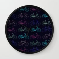 bicycles Wall Clocks featuring Vintage Bicycles by Wisteria Design Studio