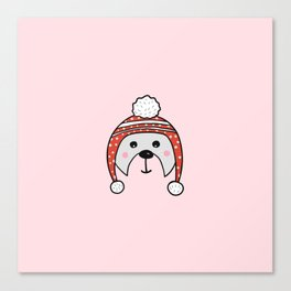 Christmas cute bear in pink Canvas Print