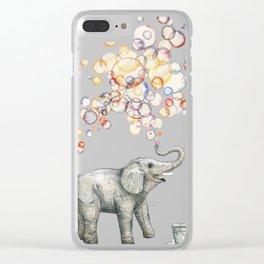 Elephant Bubble Dream Clear iPhone Case