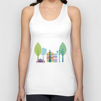 house Tank Tops featuring Ski house by Polkip