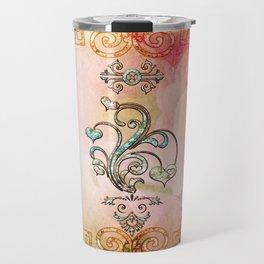 Beautiful diamonds hearts with soft flowers on the background Travel Mug