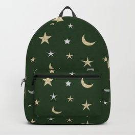 Gold and silver moon and star pattern on green background Backpack