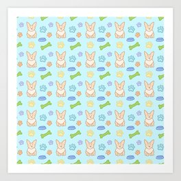 Cute Corgi Pattern (Light Teal Background) Art Print