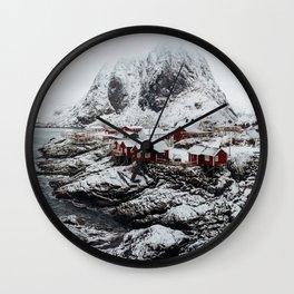 Mountain Village In Norway Wall Clock