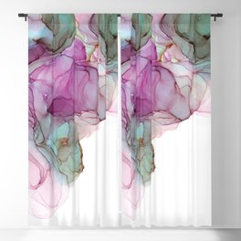 Raspberry & Slate Alcohol Ink Painting Blackout Curtain