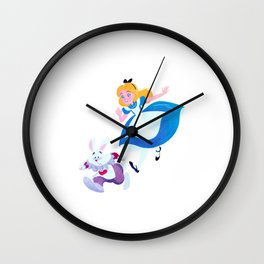Once upon a time Alice and Rabbit Wall Clock
