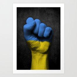 Ukrainian Flag on a Raised Clenched Fist Art Print