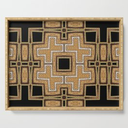 Black Gold Geometry Serving Tray