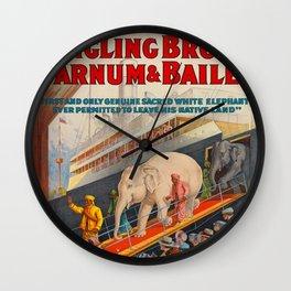 Ringling Bros Barnum & Bailey White Baby Elephant Pawah Vintage Poster Wall Clock