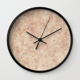 Iced coffee and white swirls doodles Wall Clock