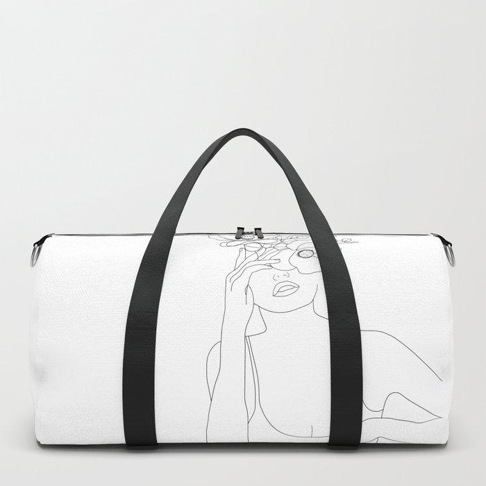 Minimal Line Art Woman with Flowers II Duffle Bag