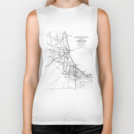 Vintage Map of The Chicago Railroad Network (1913) Biker Tank