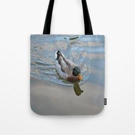 Mallard duck swimming in a turquoise lake 1 Tote Bag