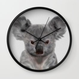 Koala Print, Cute Baby Koala Photo, Australian Animals Photo, Nursery Animals Wall Art, Animal Black Wall Clock